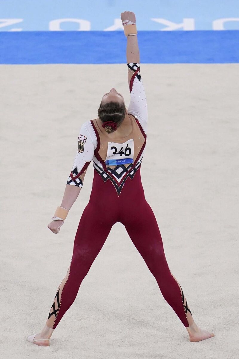 Sarah Voss and the rest of the German women's gymnastics team made headlines last week for wearing ankle-length unitards, as opposed to high-cut leotards. The outfits were billed as a stand against sexualization in the sport and a bid to prioritize athlete comfort over aesthetic ideals. (Gregory Bull / The Associated Press file)