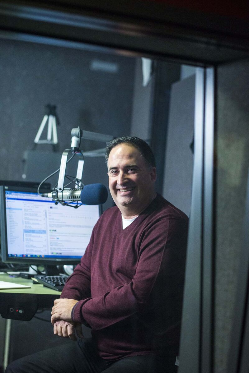 Radio personality Joe Aiello in the Power 97 studio. 'At this point in my career, it's all about having fun. I don't feel any pressure because I know it's going to end one day.' (Photos by Mikaela MacKenzie / Winnipeg Free Press)