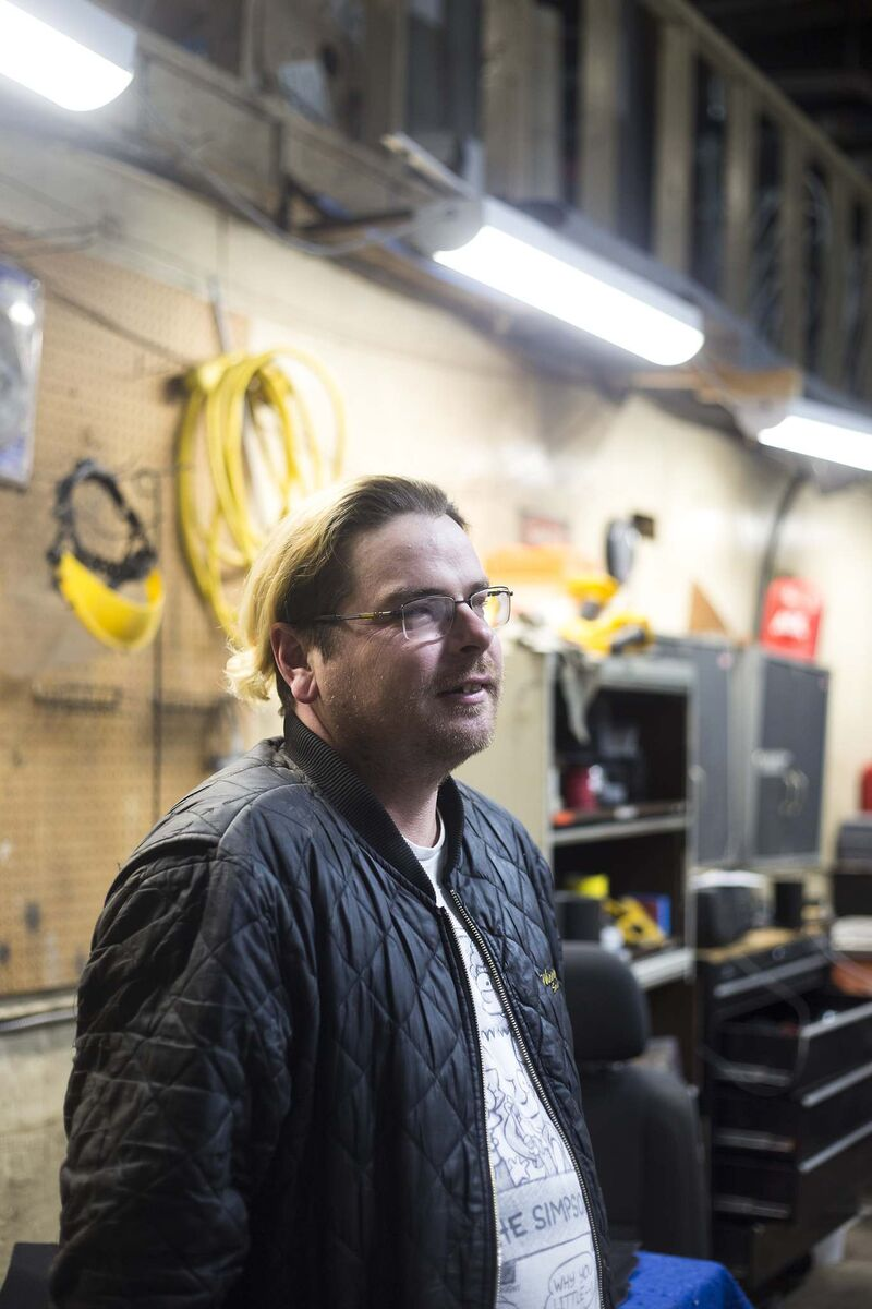 Adam Chouinard poses at his new workplace, Winnipeg RV. After dozens of accidents, minor assaults and having a gun pulled on him while behind the wheel, Chouinard left the job after only three years. (Mikaela MacKenzie / Winnipeg Free Press)</p>