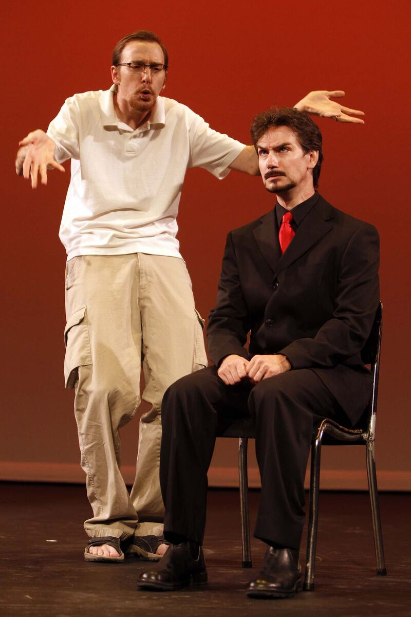 TREVOR HAGAN / WINNIPEG FREE PRESS FILES</p><p>As a member of the Crosseyed Rascals improv group, Mitch Krohn (left) was into slapstick physical comedy, but after his stroke his role has changed.</p>