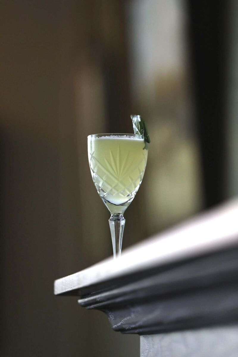 The Summer Smash mocktail at Langside Grocery contains cucumber, ginger and basil. (Ruth Bonneville / Winnipeg Free Press)