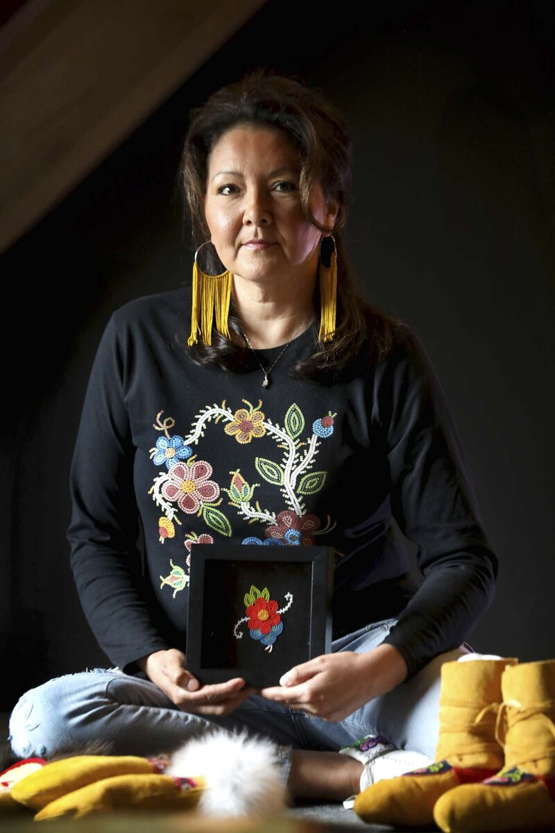 Cynthia Boehm has been working full time as a beadwork artist for the last three years. (Ruth Bonneville / Winnipeg Free Press)