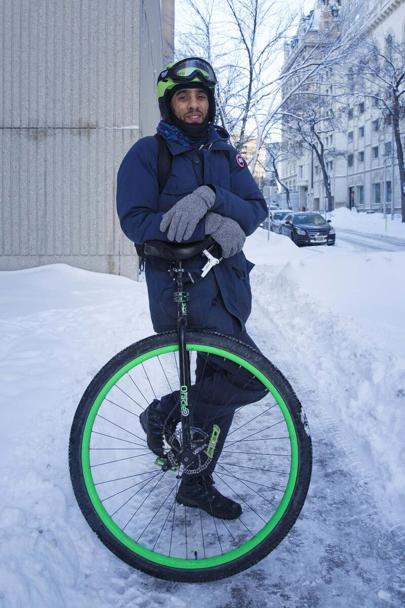 <p>Daniel Voth, who has five unicycles, has become known for riding his unicycle to work, and not even an icy winter road, nor over-aggressive Winnipeg traffic, can stop him.</p>