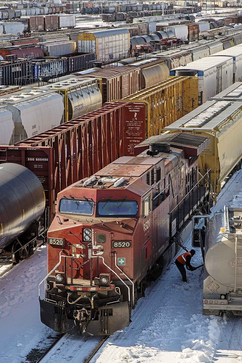 Trains idle in Winnipeg's CP rail yard. The number of rail accidents in Canada involving dangerous goods more than doubled to 25 accidents in 2018.