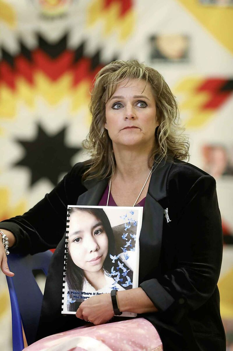Daphne Penrose, the Manitoba Advocate for Children and Youth who assembled the report for the investigation into the death of Tina Fontaine, during the report's release Tuesday.