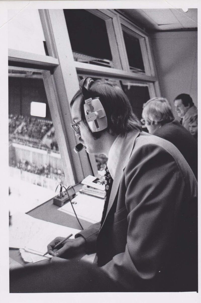 """Supplied</p> <p>Bob Irving behind the microphone at a hockey game in 1976. Irving first started calling games in the early 1970s in Brandon.</p> <p>""""> </a><figcaption readability="""