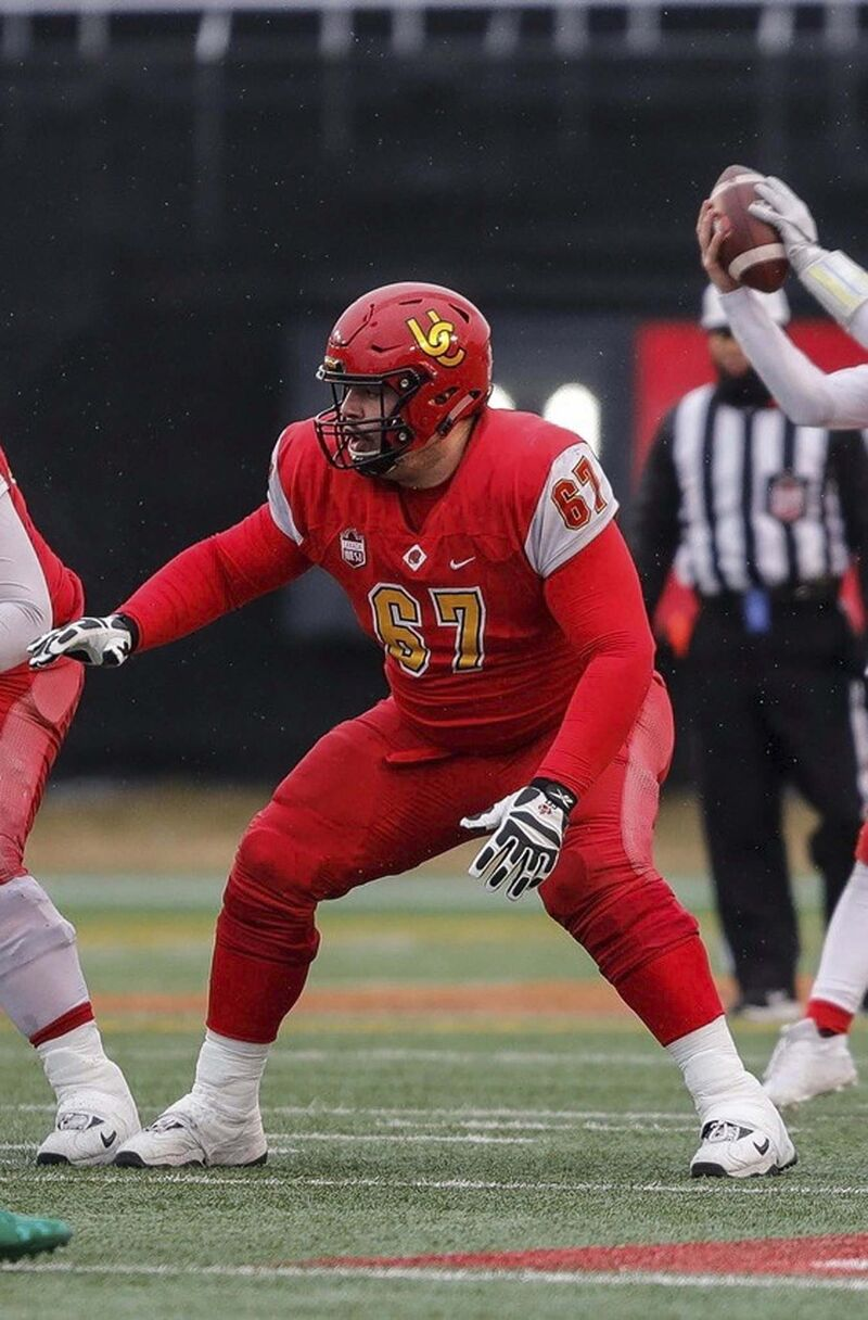 The Riverton native, who's the nephew of Reggie Leach, is a six-foot-six offensive lineman who won the 2019 Vanier Cup with the Calgary Dinos.</p>