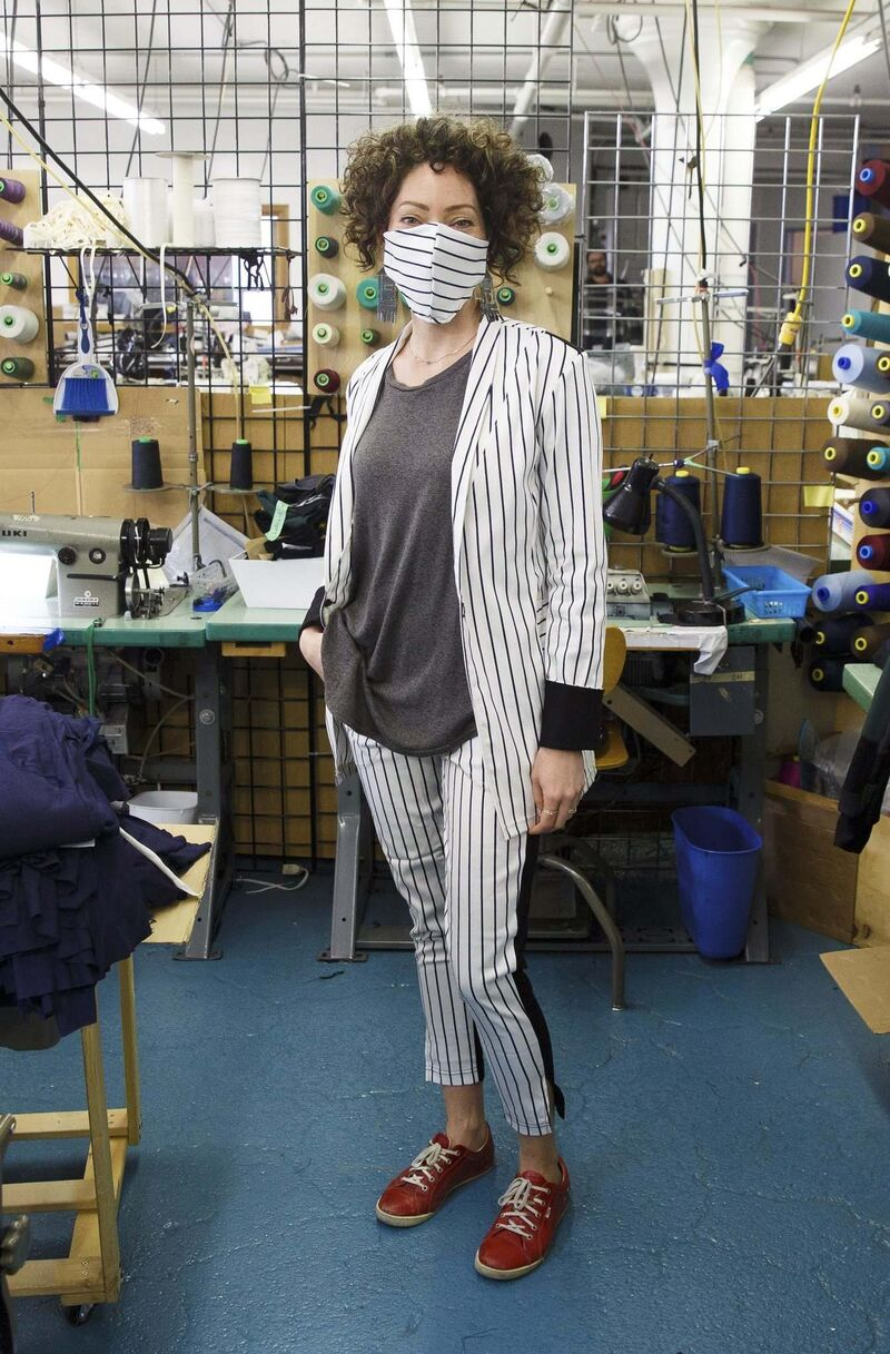 MIKE DEAL / WINNIPEG FREE PRESS</p><p>Dandeneau uses bamboo to create masks that go with outfits her Anne Mulaire label also produces.</p>