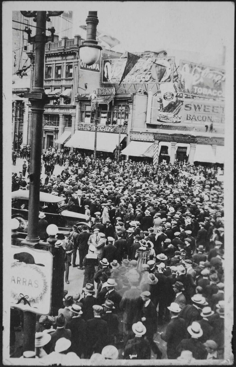 Archives of Manitoba</p><p>Crowds overwhelmed Portage and Main during the Winnipeg General Strike.</p>