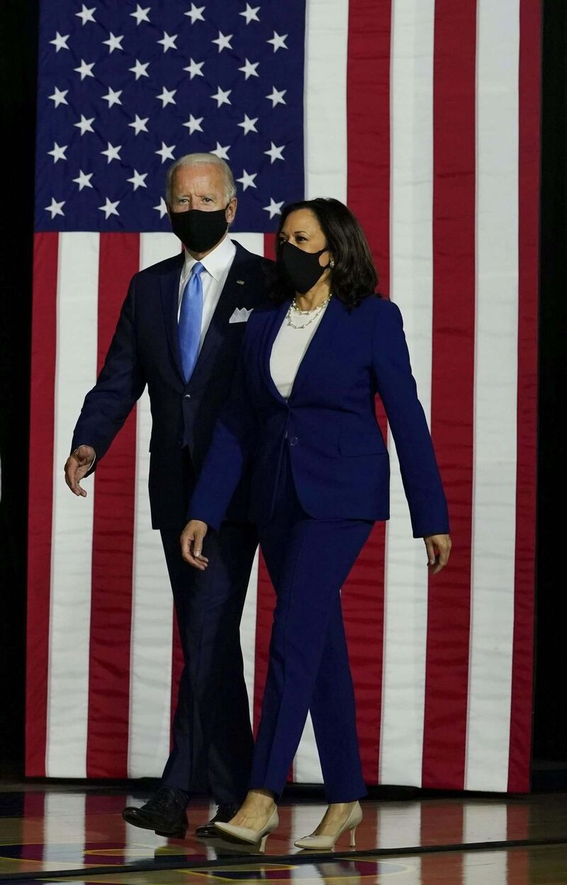 Carolyn Kaster / The Associated Press</p><p>Democratic presidential candidate Joe Biden and running mate Kamala Harris arrive for a campaign event in Delaware on Aug. 12.</p>