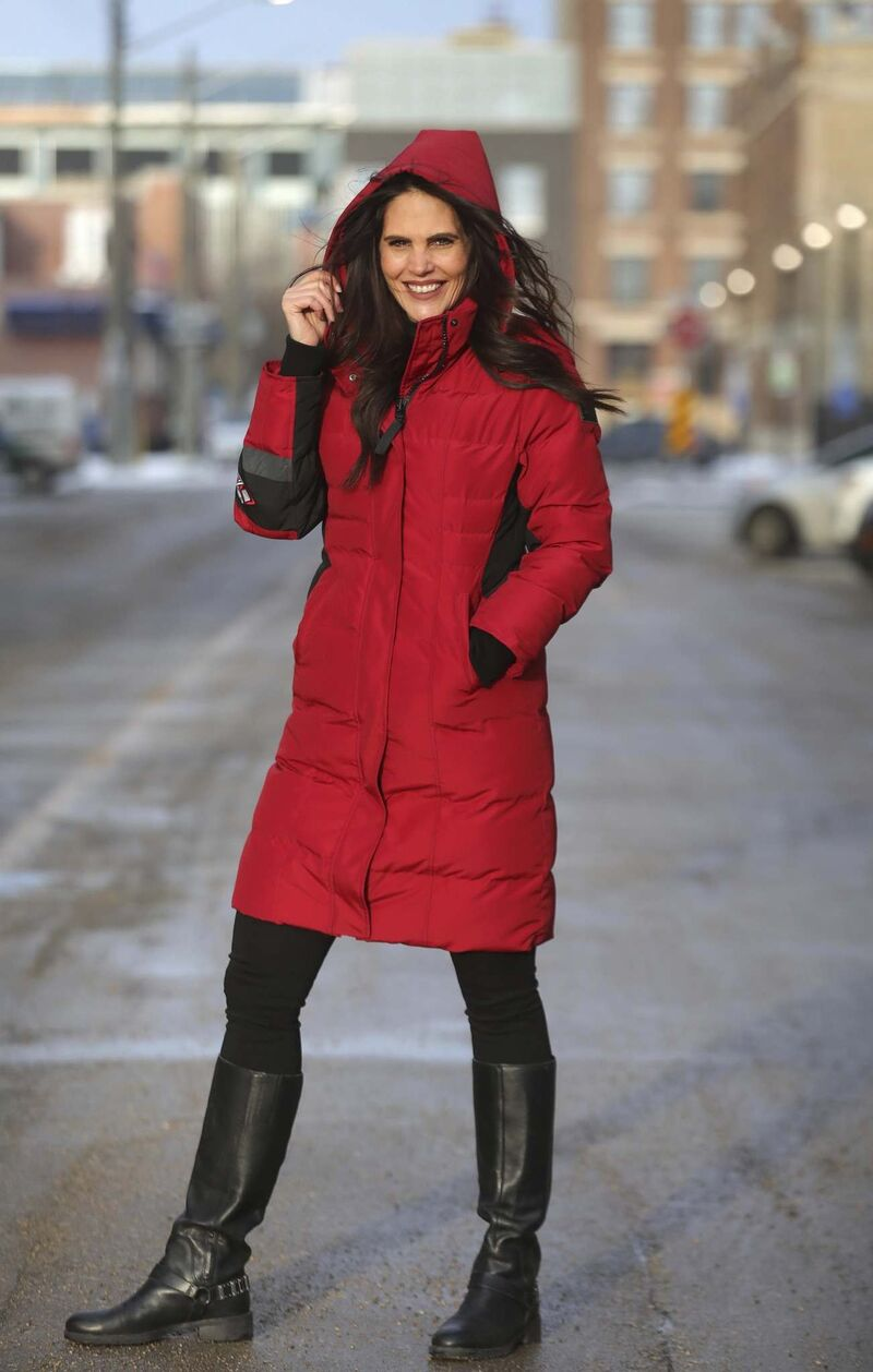 Merchandising manager Rachael Jennings models a parka from the Tough Duck Black Label Luxury Collection.