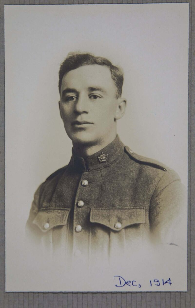 Archives of Manitoba</p><P>Edgar (Ed) Russenholt, a new recruit to the 44th Battalion in 1914.</p>