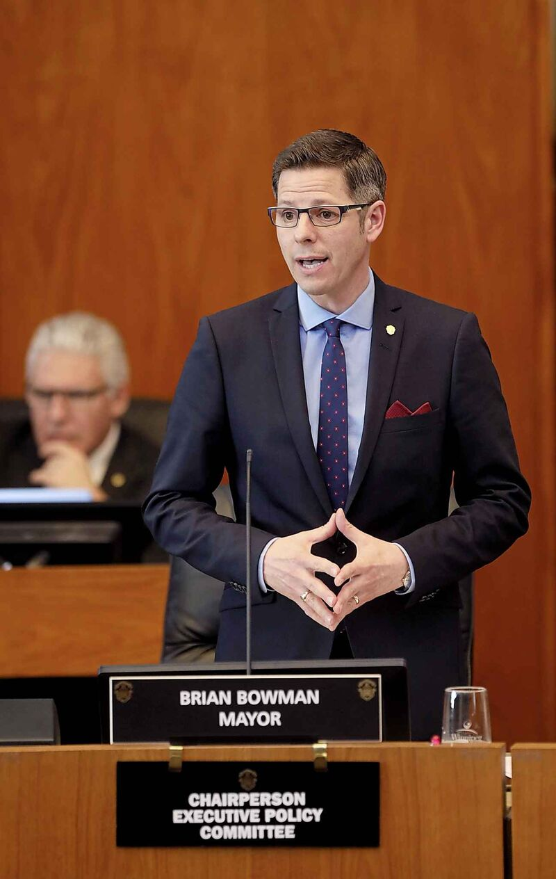 Winnipeg mayor Brian Bowman addresses city council just before a vote on the 2019 budget which passed by an 11-5 margin, Tuesday.
