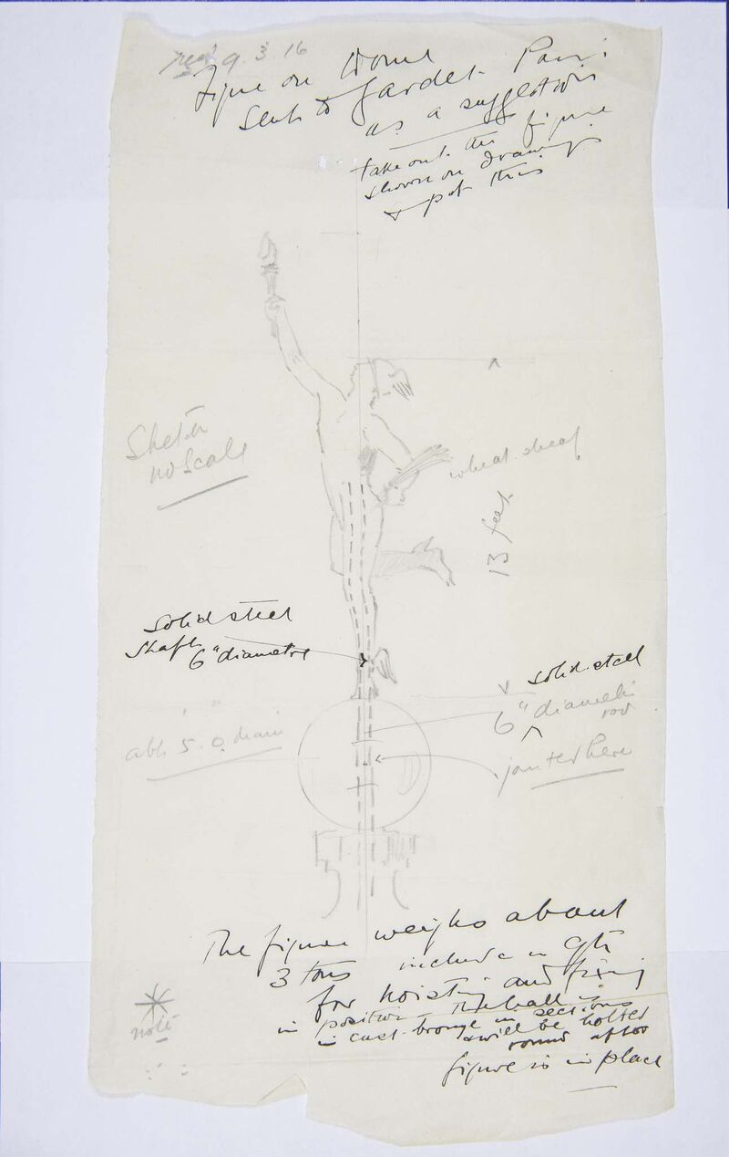A sketch from artist Georges Gardet to architect Frank W. Simon includes elements such as wings and a globe that did not make it to the final sculpture. (Archives of Manitoba)
