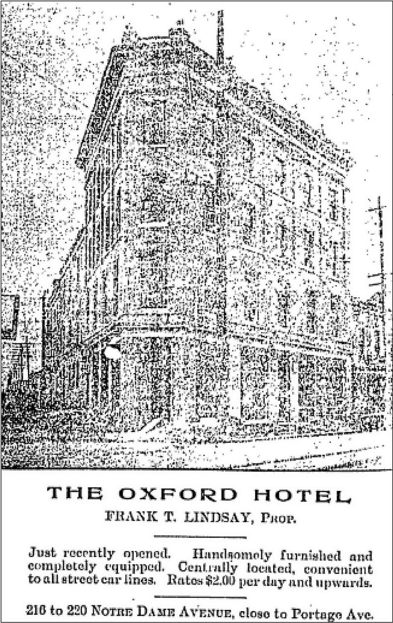 1905 advertisment for the Oxford Hotel in the Manitoba Free Press.