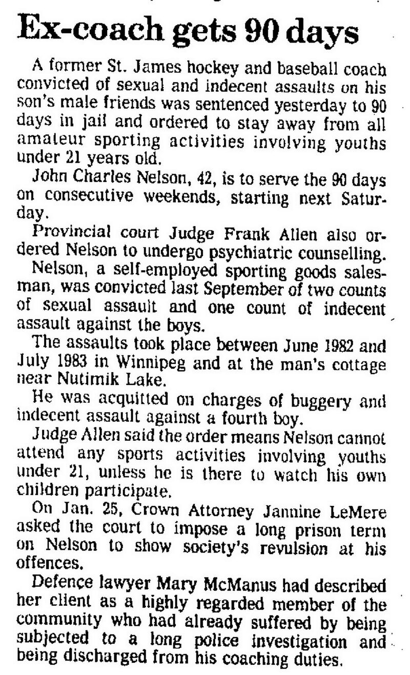 A story published in the Winnipeg Free Press on Feb. 9, 1985.