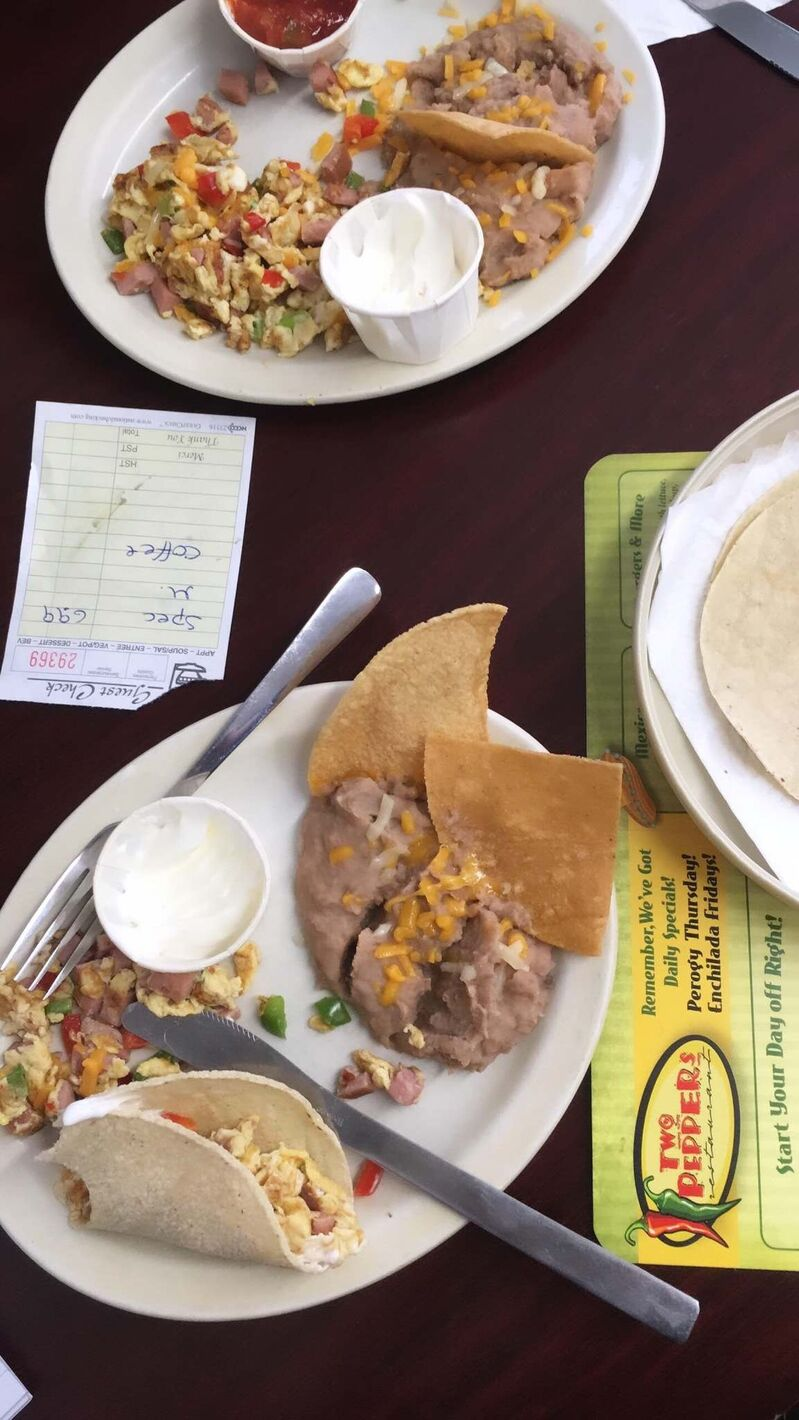 Huevos a la Mexicana is a breakfast feast at Two Peppers in Blumenort.