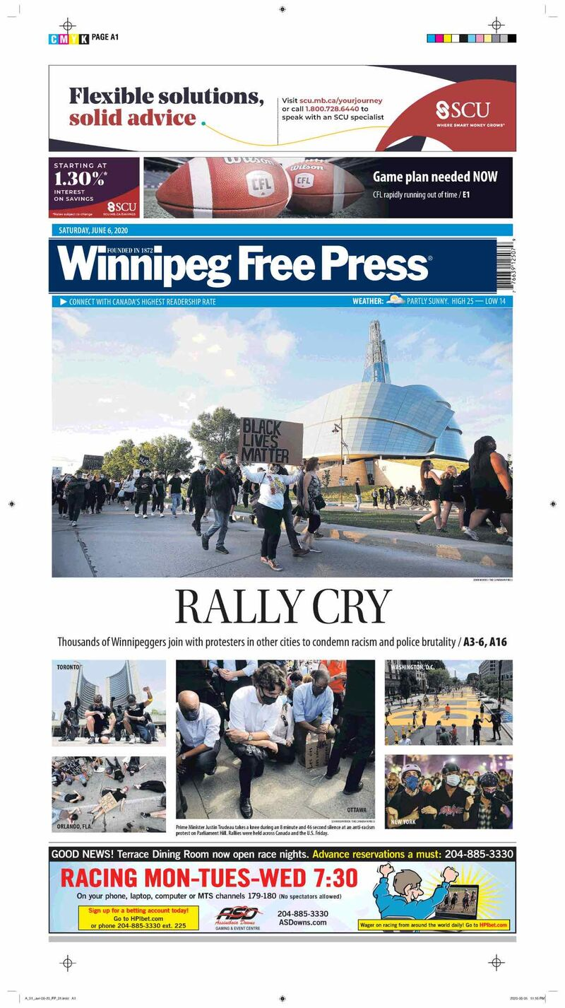 In June, thousands of Winnipeggers joined with protesters in other cities to condemn racism and police brutality.  Many feared the large gathering would result in a spike in COVID-19 cases, but that did not come to pass; experts noted Manitoba's case count was low, the event was outdoors and many attendees were masked.