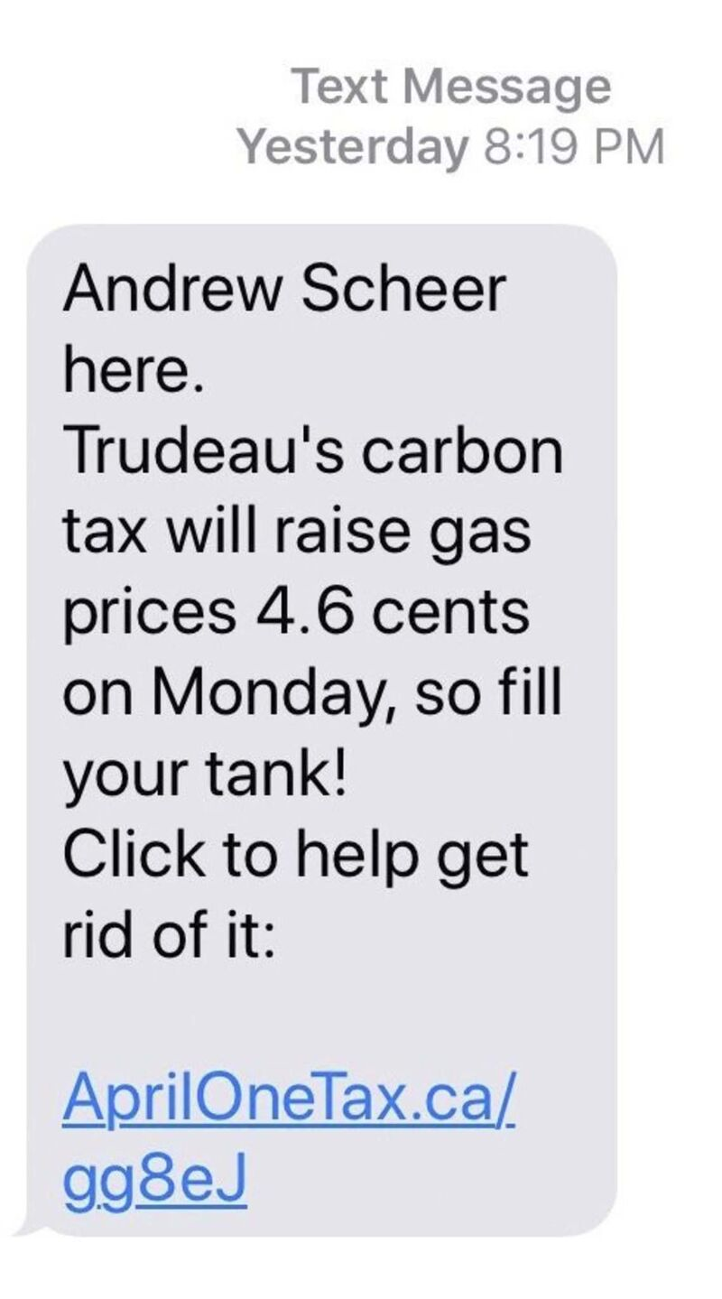 SUPPLIED</p><p>Conservative leader Andrew Scheer's carbon-tax text</p>