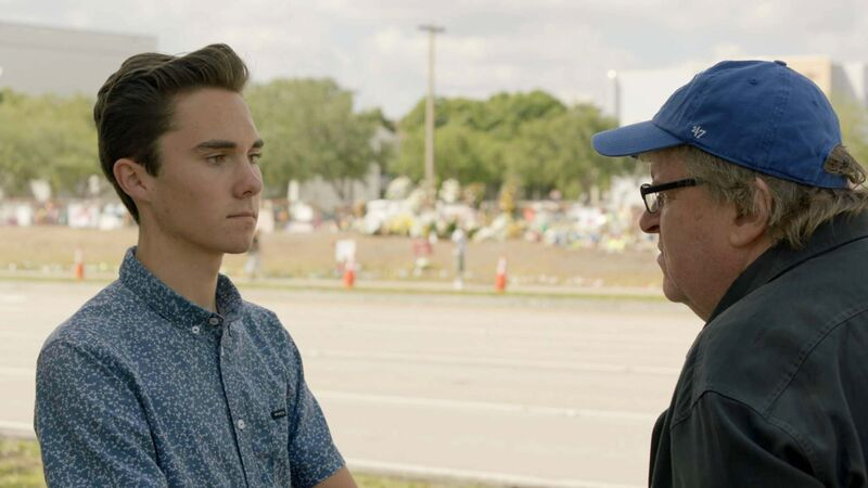Michael Moore (right) interviews David Hogg, a survivor of the Parkland, Fla., school shooting. (Briarcliff Entertainment-GathrFilms)
