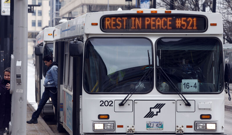 Winnipeg Transit drivers were angered when they were ordered not to memorialize slain driver Jubal Fraser (badge No. 521) on the second anniversary of his death. (Wayne Glowacki / Winnipeg Free Press files)