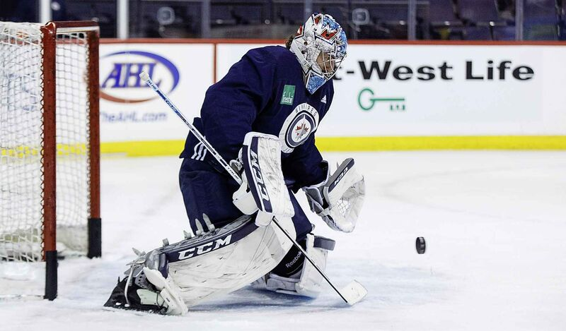 After letting in a few pucks at practice on Wednesday, Hellebuyck showed a little rage on the ice.