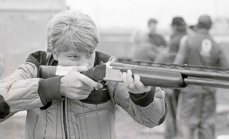 A 14-year-old Curtis Wennberg takes aim during the Manitoba International Provincial Trap Shooting championships in 1985.  (Wayne Glowacki / Winnipeg Free Press files)