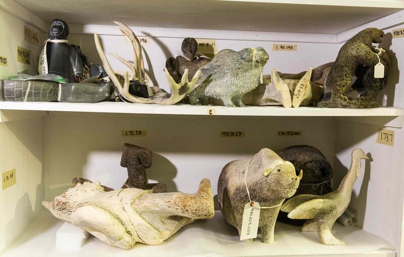 MIKE DEAL / WINNIPEG FREE PRESS </p><P>A few of the nearly 8,000 Inuit art pieces that have been loaned to the Winnipeg Art Gallery from the Nunavut government.