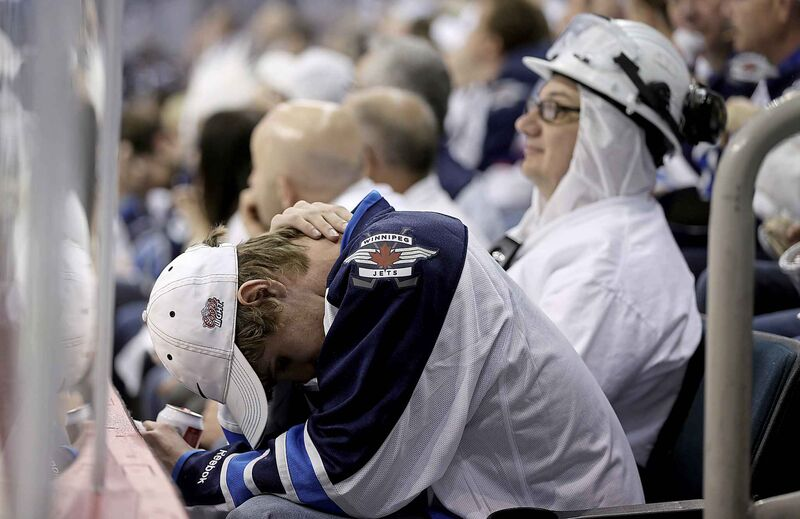 Winnipeg Jets' fans react to a game 4 loss to the Anaheim Ducks' during the Stanley Cup playoffs in 2015.