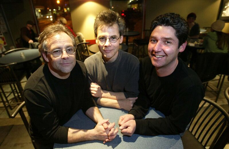 The drum fill to start Elvis Costello's Watching the Detectives was a puzzle that took a long time to solve for the Fuse's drummer Paul Hatcher (centre), with Don Hatcher and Dave Briggs. (Phil Hossack / Winnipeg Free Press files)