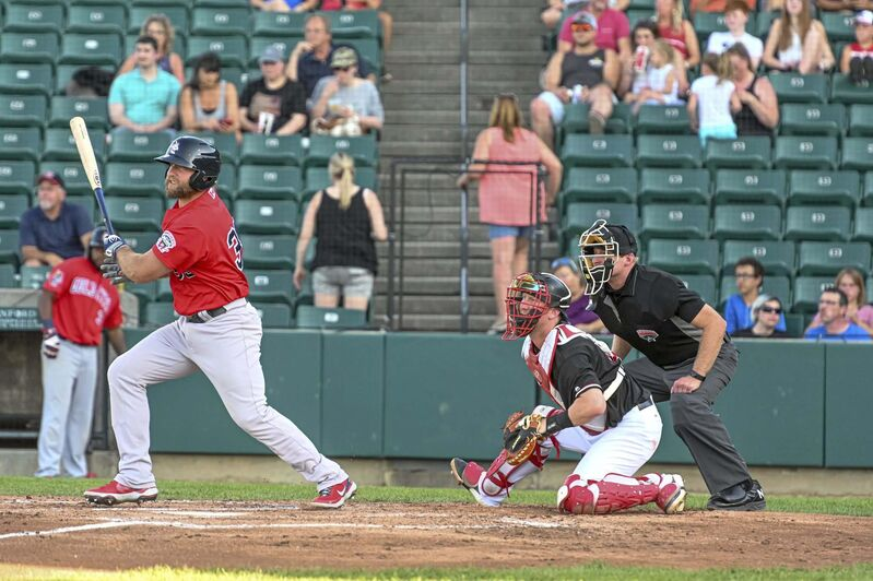 Kyle Martin at bat in Fargo at the end of June.