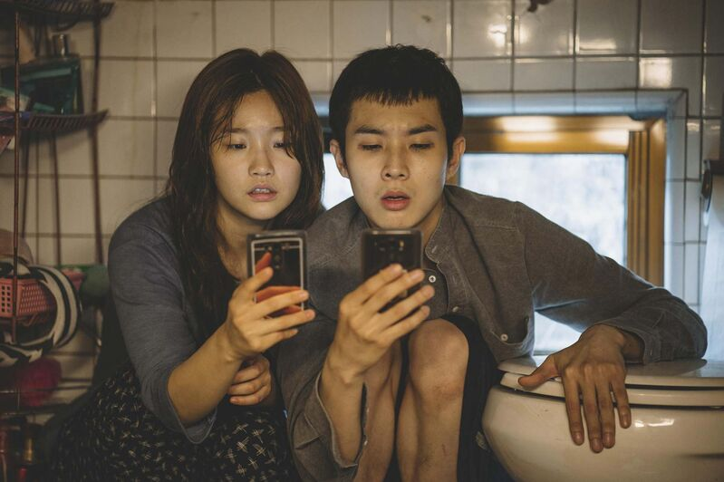 So-dam Park (left) and Woo-sik Choi in Parasite, which won Best Picture at the Academy Awards (Neon).</p>