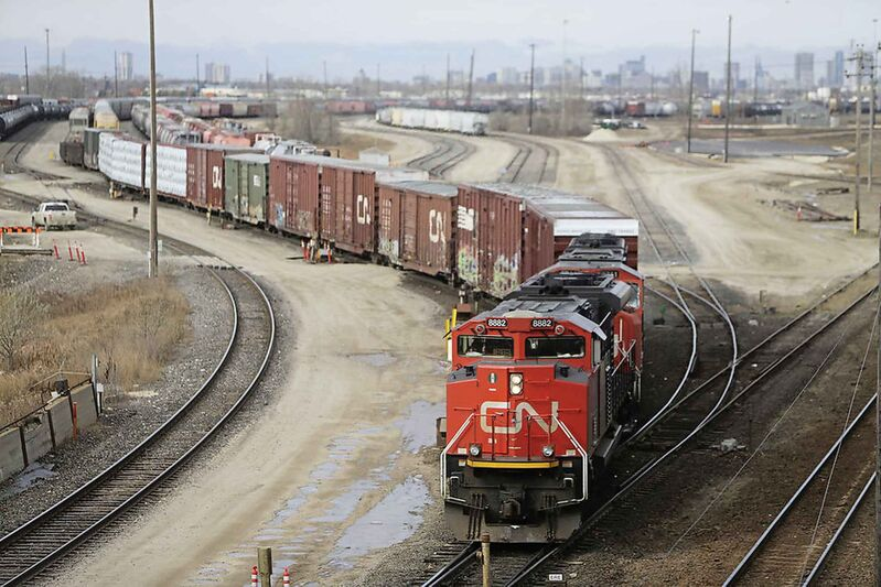 TREVOR HAGAN / WINNIPEG FREE PRESS FILES A train moves out of Symington Yard.
