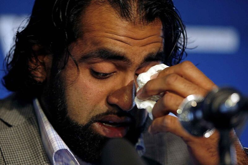 KEN GIGLIOTTI  / WINNIPEG FREE PRESS   Khan's emotional retirement in 2012 after eight seasons in the CFL, six of them with Winnipeg Blue Bombers.