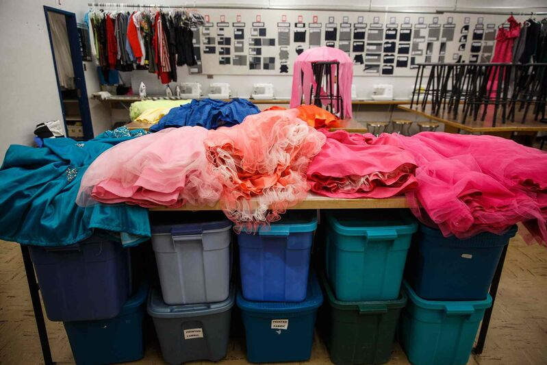 There are a lot of costumes in this musical and Watt's sewing class has been busy. (Mike Deal / Winnipeg Free Press)