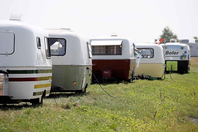 More than 900 people from across North America gathered with their Boler trailers in Winnipeg's Red River Exhibition Park, attracting another 1,800 members of the public for a visit. (John Woods / Canadian Press files)