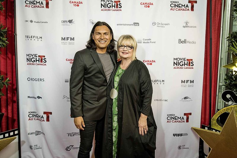 Carole Vivier with film star Adam Beach in 2017. (Supplied)    Carole Vivier - CEO and Film Commissioner with Manitoba Film and Music    -with Actor Adam Beach