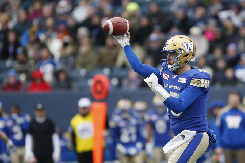 Winnipeg Blue Bombers  quarterback Matt Nichols (15) throws against the BC Lions during the first half of CFL action in Winnipeg Saturday, October 28, 2017.