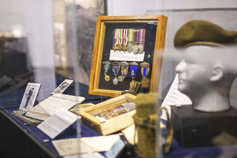 Walter Barkman's framed military medals; he and five of his brothers served in the war and then later felt ostracized by the Mennonite community. (Mikaela MacKenzie / Winnipeg Free Press)</p>