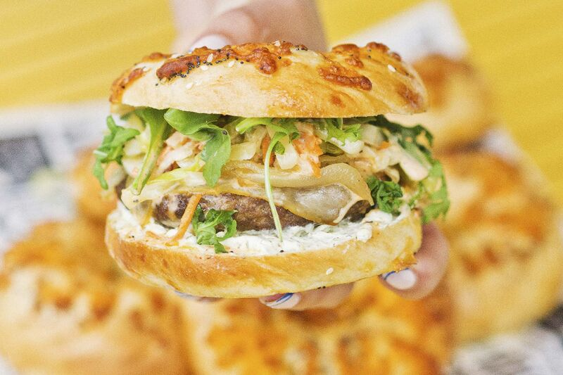 The Everything Bagel Burger by Hudson Bagels. (Supplied)