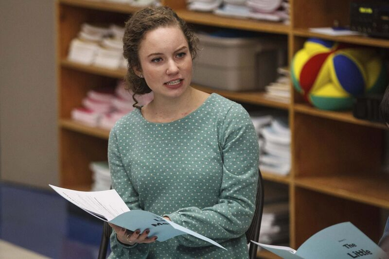 Ashley Fredette takes the Life Skills students through the first reading of The Little Mermaid. (Mike Deal / Winnipeg Free Press)