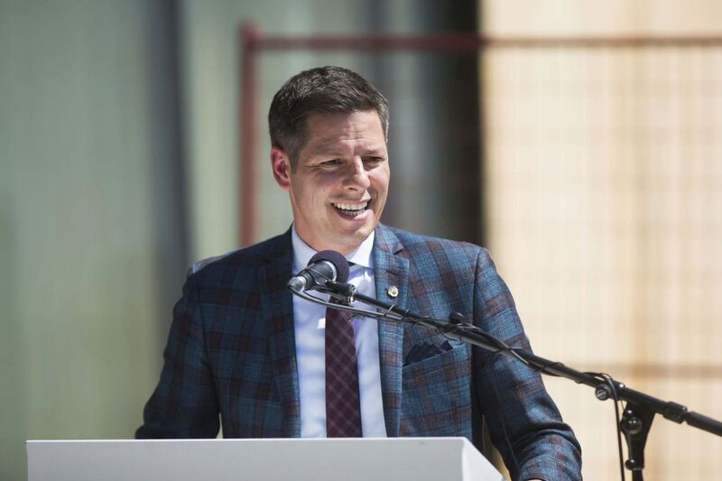 Mayor Brian Bowman speaks at the groundbreaking ceremony for the new Inuit Centre at the Winnipeg Art Gallery.