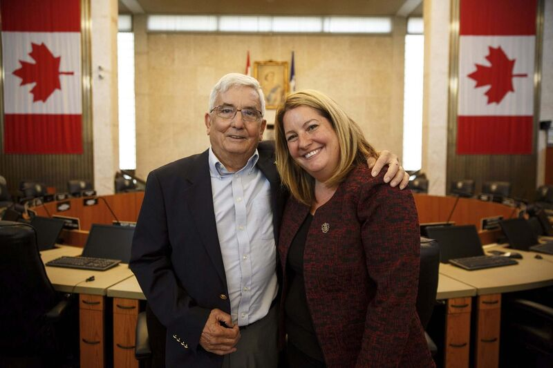 Coun. Cindy Gilroy and her father, Ernie, who was a city councillor from 1986 to 1992 and a member of the city's executive policy committee when Bill Norrie was mayor. (Mike Deal / Winnipeg Free Press)