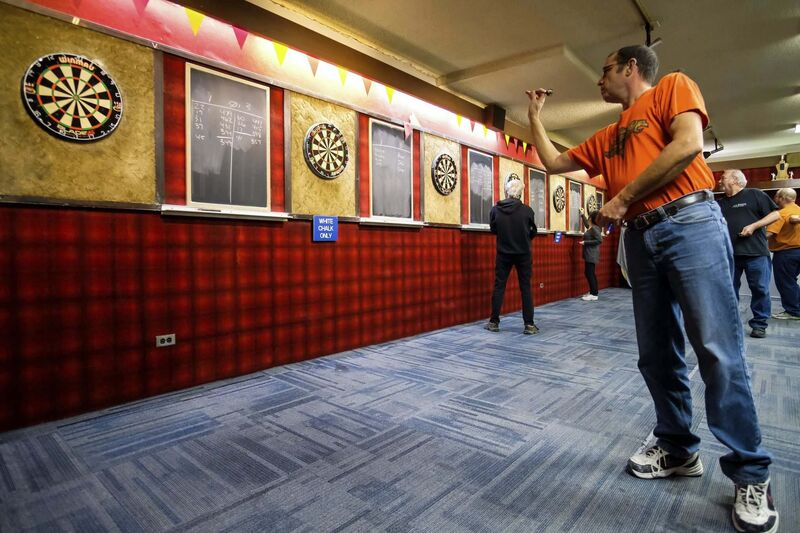 Daniel Crump / Winnipeg Free Press</p><p>The St. James Legion is home to the Wednesday Night Darts League where enthusiasts like Jeff McDonald can get together to socialize and take dead aim.</p></p>