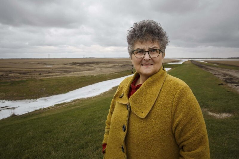 Historian Trish Short Lewis, at the American site where planes landed, says it wasn't a closely guarded secret. (Mike Deal / Winnipeg Free Press)