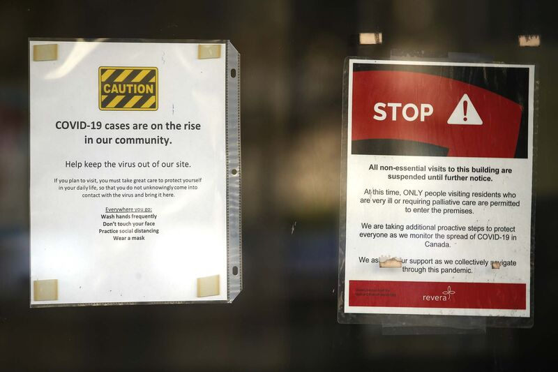 Signs on door of Parkview Place Care Centre.