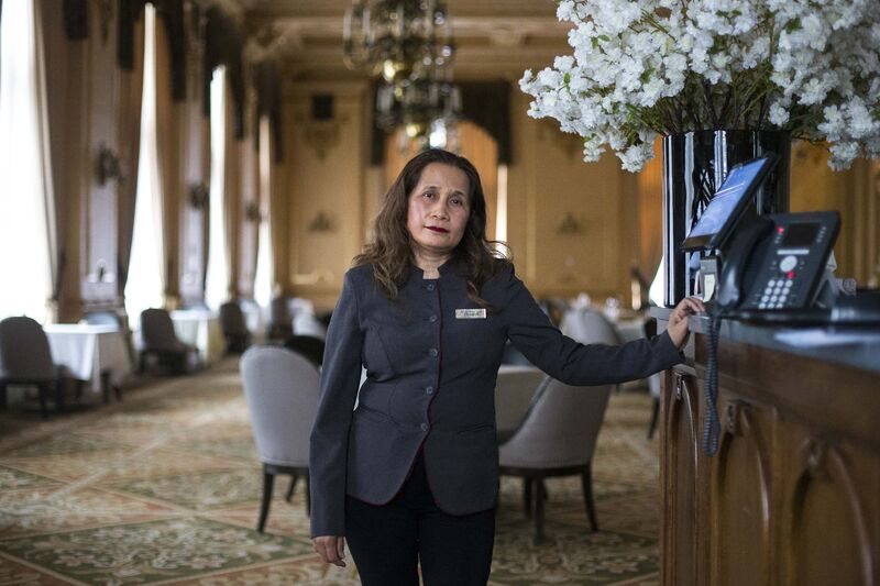 Breakfast attendant Elizabeth Pagarigan has worked at the Fort Garry Hotel for more than 40 years. She was thrilled to be called back to work after being off for months. (Mikaela MacKenzie / Winnipeg Free Press)