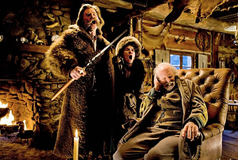 ANDREW COOPER / THE WEINSTEIN COMPANY</p><p>Kurt Russell (left), Jennifer Jason Leigh and Bruce Dern in The Hateful Eight.</p>