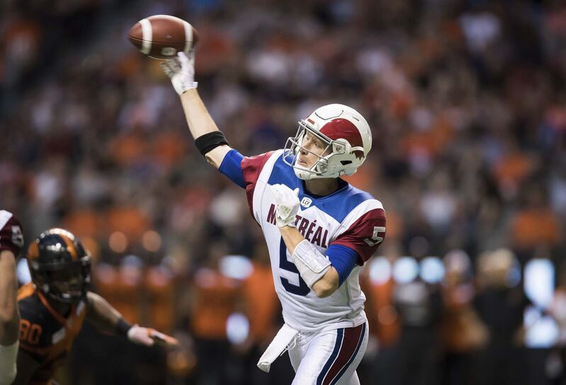 Darryl Dyck / The Canadian Press</p><p>The B.C. Lions blitzed Montreal quarterback Drew Willy almost every time the Alouettes were in a passing scenario during the second half of Saturday's game.</p></p>