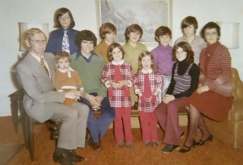 Kevin Donnelly (green shirt, back row) in a 1972 family photo. (Supplied photo)
